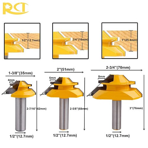 RCT 45 Degree Lock Miter Router Bit 1/2'' Shank Tenon Cutter Milling Cutters For MDF Plywood Wood Cutter Woodworking Tools