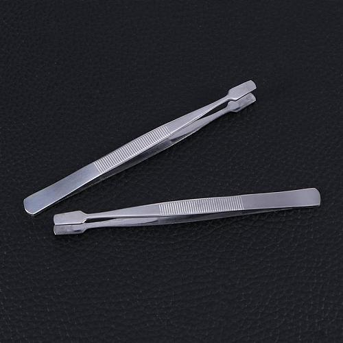 2pcs Stamp Tweezers Philately Stamps Collector Tools (Silver)