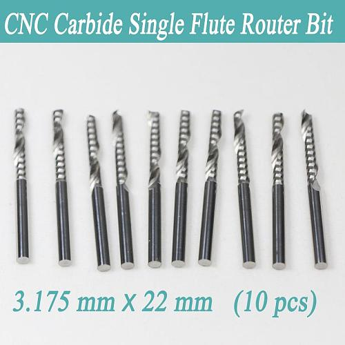 New 10PCS 3.175 X 22mm Single flute carbide Engraving CNC router Spiral bit Tool Cutting Acrylic Pvc Wood