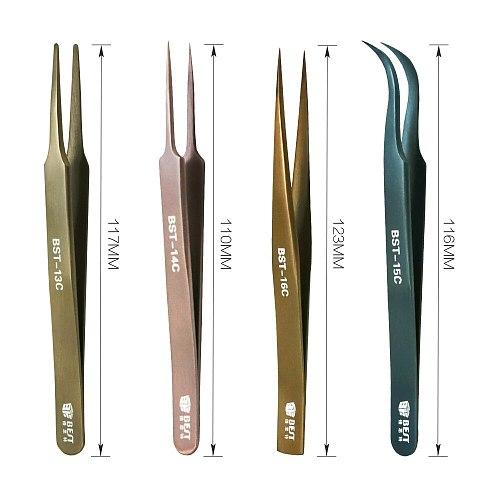 Professional Stainless Steel Tweezers Precision Anti-static Maintenance Repairing Tools for  Phone Eyelash Extension Pinzas