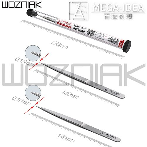 MEGA-IDEA Non-Magnetic Tweezer Stainless Steel Anti-Rust Wear-resistance Precision Tweezer  0.1mm 0.15mm for Mobile Phone Repair