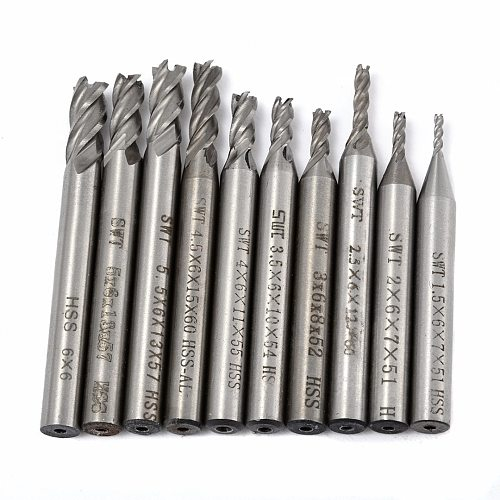 10pcs/Set HSS 4 Flute End Mill Straight Shank Router Bits Woodworking Milling Cutter Tool 1.5/2/2.5/3/3.5/4/4.5/5/5.5/6mm