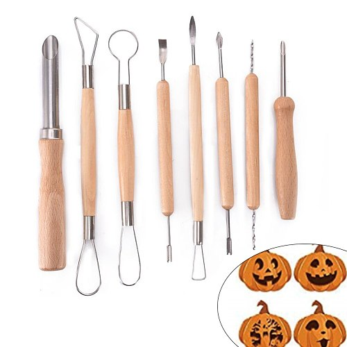 4/8pcs Professional Pumpkin Carving Tool Kit Stencils Heavy Duty Stainless Steel Tool Set Carving Knife For Halloween Decoration