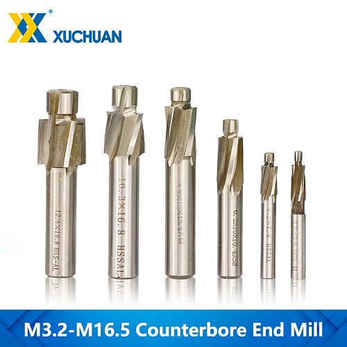 1pc M3.2-M16.5 HSS Counterbore End Mill CNC Machine Router Bit 4 Flutes Engraving Bit Counterbore Milling Cutter