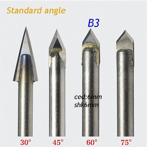 1pc standard 6*6mm 60 degree angle alloy Router Bits CNC engraving cutter Stone Carving Tools