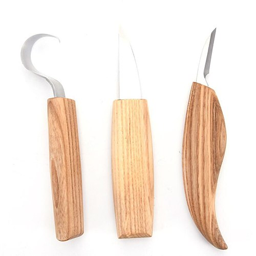 3pcs Stainless Steel Woodcarving Cutter High Strength Hooked Whittling Cutter Tool Sets Used for Cutting Wooden Spoons