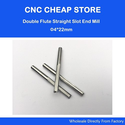 5pcs 4*22MM Two Double Straight Flute Milling Cutter, CNC Engraving Bit, Wood Router Bits Sets, Carbide End Mill