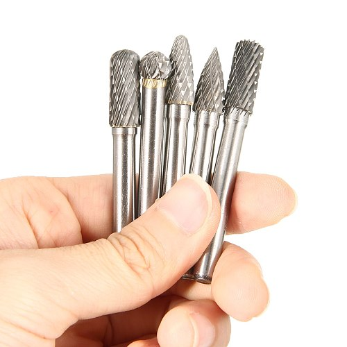 5pcs/set 8mm Tungsten Carbide Grinding Head Rotary Point Burrs 6mm Shank Bits Rotary File Cutter Tools for Finishing Metal Mold