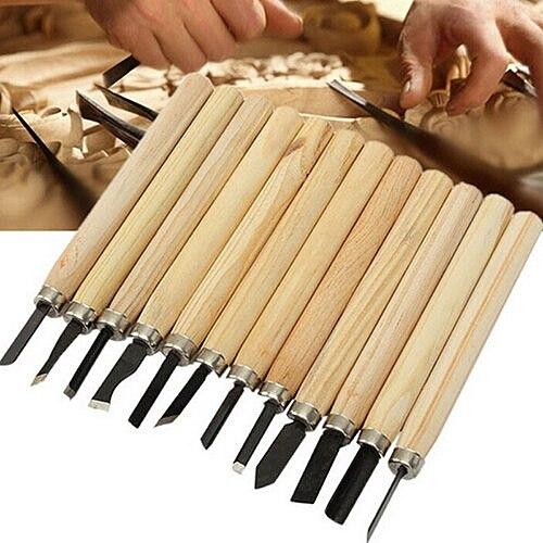 ZLinKJ 12pcs/lot Dry Wood Chisel Set Woodpecker hand Wood Carving Tools Chip Detail Chisel set Knives tool