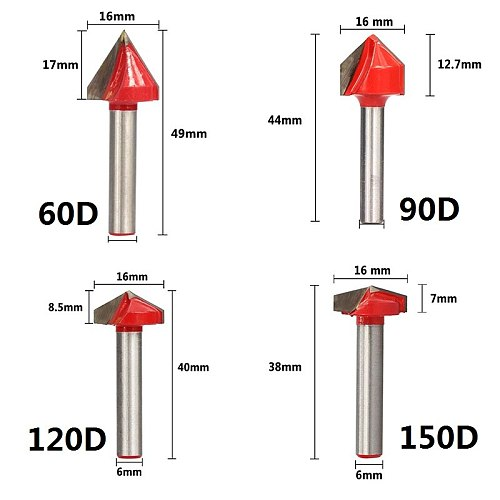 6x16mm V Groove Wood Router Bit CNC Machine Engraving Carving Bit Wood Milling Cutter 60/90/120/150 Degrees