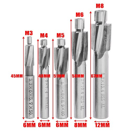 5pc 4 Flute HSS Counterbore End Mill M3-M8 Pilot Slotting Tool Milling Cutter Drill Bit for Wood Metal Drilling Counterbore Mill
