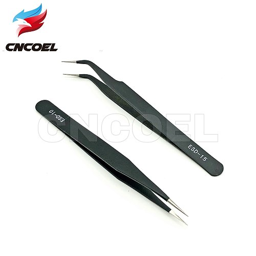 2pcs/lot ESD-10 ESD-15 Anti-static Curved Straight Tip Forceps Precision Soldering Tweezers Set Electronic ESD Tweezers Tool