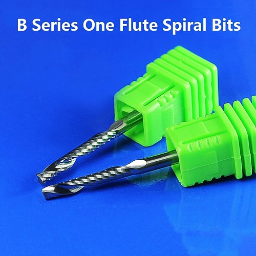 1pc 3.175mm SHK B Series carving Cutters One Flute Spiral End Mills Flute CNC Router Bits for cutting 1 MDF Acylis plastic