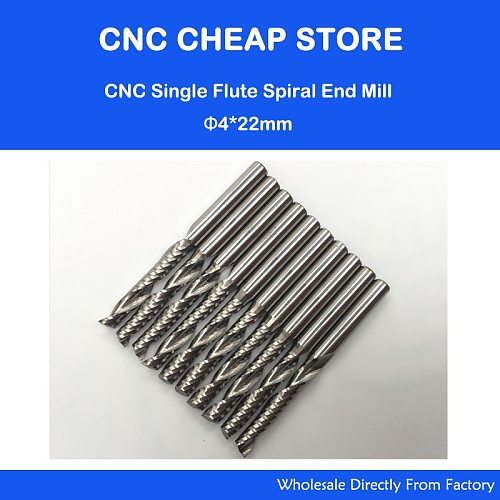 4mm Carbide CNC Router Bits one Flutes Spiral End Mills Single Flutes Milling Cutter PVC Cutter CEL 22mm