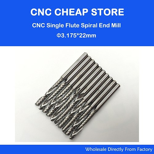 10pcs/lot 1/8  High Quality Cnc Bits Single Flute Spiral Router Carbide End Mill Cutter Tools 3.175 x22mm OVL 45MM