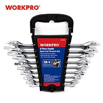 WORKPRO 9PC Combination Dual End Wrench Hand Tool Set 6mm To 23mm With Plastic Frame Set Repair Tools Set Metric