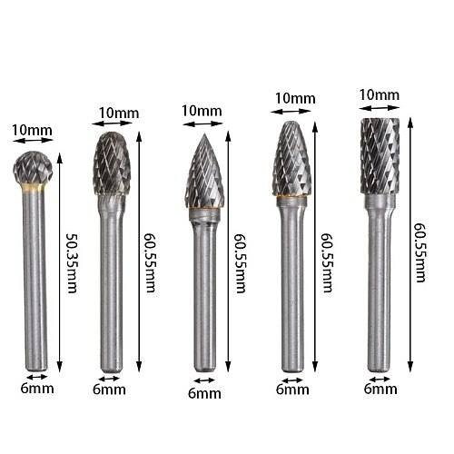 5Pcs 6mm Routing Router Drill Bits Set Wood Stone Metal Root Carving Milling Cutter Carbide Rotary Tools