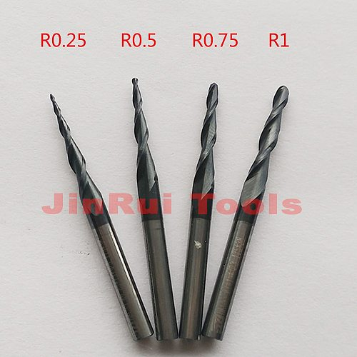1pc R0.25/R0.5/R0.75/R1 1/8 (3.175mm)shank HRC55 carbide  Tapered Ball Nose End Mills milling cutter wood Engraving tools knife
