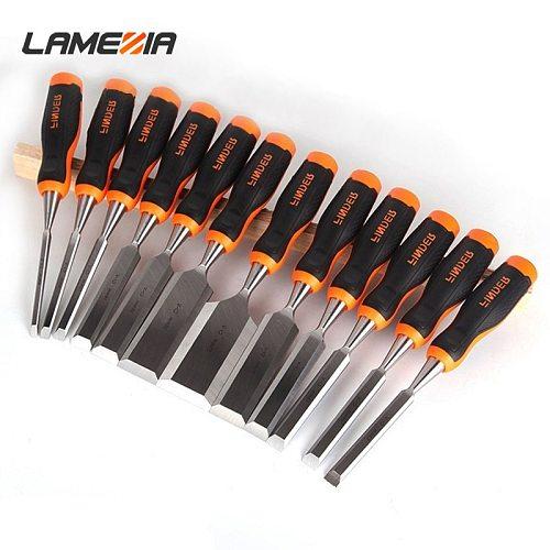 LAMEZIA Carpentry Flat Chisel Set TPR Plastic Fiber Handle DIY Woodwork Tools Woodworking Plane Carving Knife