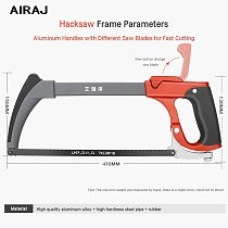 AIRAJ Garden Hacksaw Frame with 6 Saw Blade Household Detachable Heavy Duty Powerful Multi-Function Manual Cutting Tool