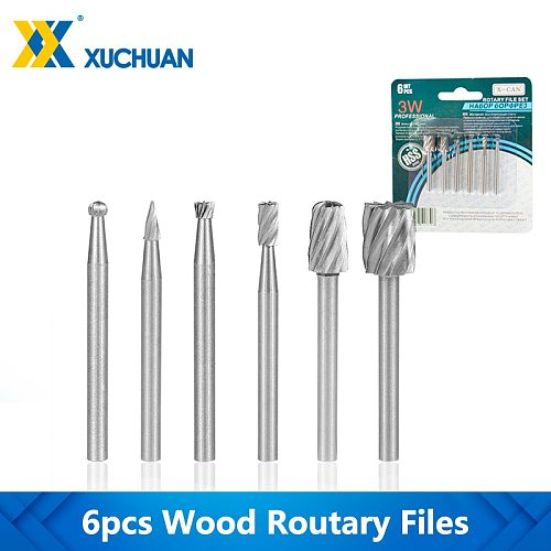 Wood Rotary Files HSS Routing Router Rotary Carving Carved Knife 6pcs For WoodWorking Dremel Tools Mini Drill Bit Rotary Burrs