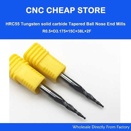 2pcs R0.25/R0.5/R0.75/R1 HRC55 Taper Ball Nose End Mill Tapered cone milling cutter CNC woodworking router bit 3.175mm 1/8  SHK