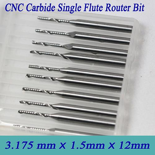 High Precision Grind 10pcs 3.175*1.5*12mm Single Flute Milling Cutter Soild Carbide One Spiral Flute Bits