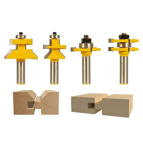 4 Bit Tongue & Groove And V-Notch Router Bit Set-1/2 Inch Shank Line Knife Woodworking Cutter Tenon Cutter For Woodworking Too