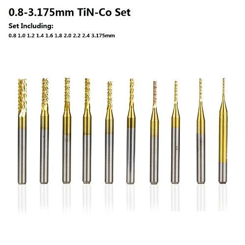 10pcs 0.8-3.175mm PCB Milling Cutter Titanium Coated CNC Router Bit Set Carbide End Mill CNC End Mill