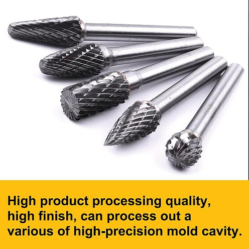 1PC 5 Assorted 10mm Head Tungsten  Carbide Rotary Point Burrs Grinder Bit 6mm Shank Milling Cutter Abrasive Tools