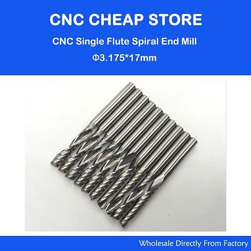 10 pcs Carbide endmill single flute spiral CNC router bits 3.175 x 17mm