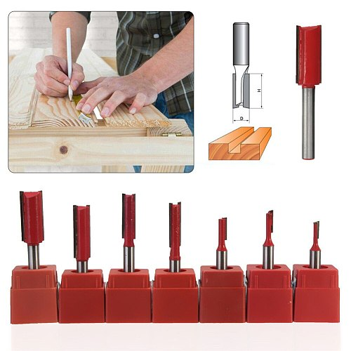 2 Flutes Straight Trimming Router Bit 1/4  Shank 1/8 -1/2  Blade Milling Cutter For Carving Woodworking Tool