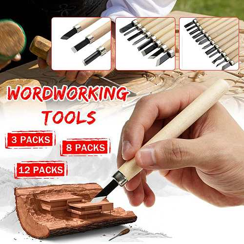 Doersupp Wood Carving Knife 3/8/12pcs Carpentry Engraving Pen Hand Wood Cutters Chisel Knife Sculpture Woodworking Tools Knife