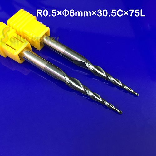 2pcs/lot R0.5*D6*30.5*75L*2F HRC55 solid Tungsten carbide NANO Coated Ball Nose Taper End Mill cone type cnc milling cutter tool