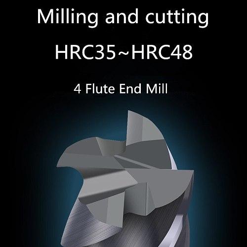 Milling Cutter Metal Cutter HRC50 4 Flute Endmill 4mm 5mm 6mm 8mm 10mm 12mm Milling Tools Alloy Carbide End Mill Free shipping