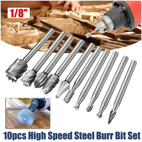 10pcs 1/8 Inch Shank Milling Rotary File Burrs Bit Set Wood Carving Rasps Router Bits Grinding Head