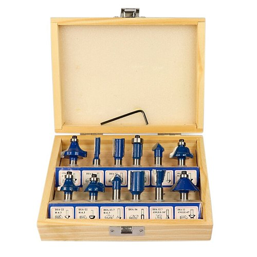 12pcs/15pcs 8mm Shank Wood Milling Cutter Set Blue Router Bit For Wood Carbide End Mill Woodworking Tools Engraving Bit