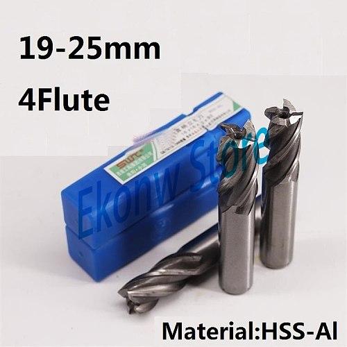 1pc 19mm 20mm 21mm 22mm 24mm 25mm four Four 4 Flute HSS End Mill Cutter CNC Bit Milling Cutter