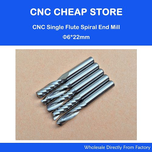 5pcs 6mm 1/4  High Quality Carbide CNC Router Bits One Single Flute End Mill Tools 22mm