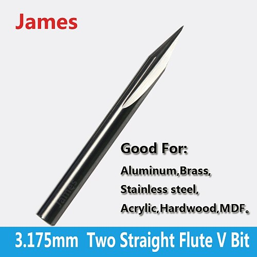 1pc 3.175mm SHK Two Flutes Straight V Bits Hardwood Processing Double Flutes Straight V Engraving Tools Milling Cutter