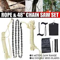 48 Inch High Reach Rope Chain Saw Tool Kit 63 Sections 62 Blades Cutter on Both Sides Outdoor Wood Cutting Camping Tool