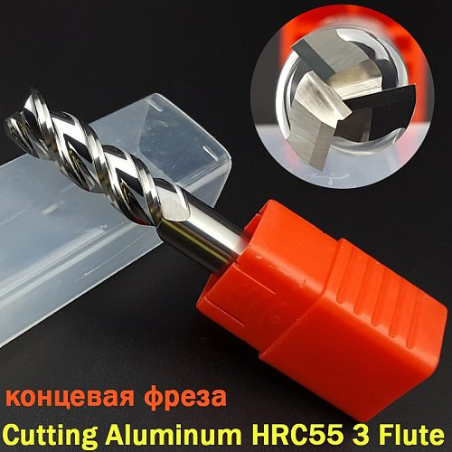 1 pcs Cutting HRC55 3 Flute 4mm 5mm 6mm 8 12mm Alloy Mill Tungsten Steel Cnc Milling Cutter end mill carbide For Aluminum Copper