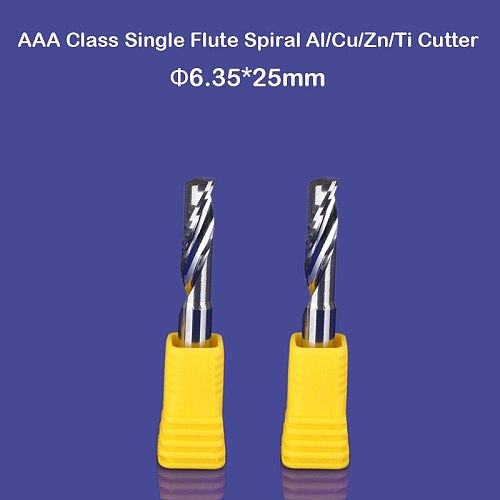 2pcs 6.35mm 1/4  High Quality Carbide CNC Router Bits One Single Flute End Mill Tools 25mm Aluminum Cutting