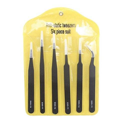 6pcs ESD Anti-Static Stainless Steel Tweezers Set Maintenance Repair Tool Kit Anti Static Model Making Tool Hand Tool Set