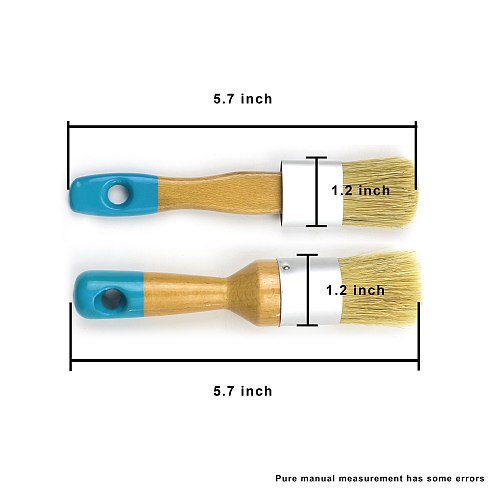 MAXMAN Chalk and Wax Brushes Paint Brush Set Oval Flat Round Paint Brush Natural Bristle Paint Brush Kit