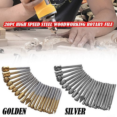 HSS Routing Router Bits Burr Set 3mm 1/8 Inch Shank for Woodworking Drilling Metal Wood Carving Engraving 20Pcs