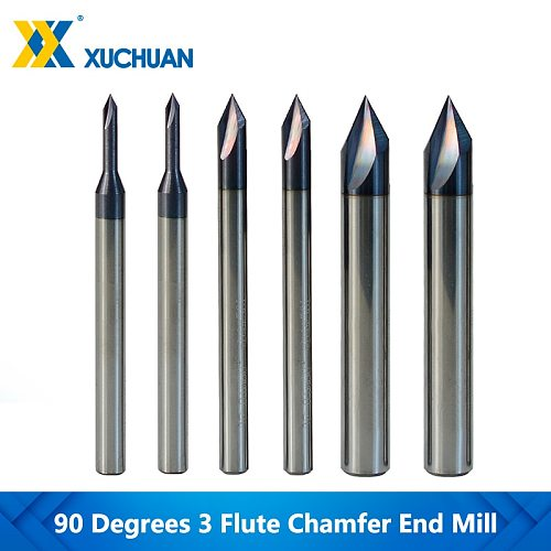 3 Flute Chamfer Cutter 60 Degrees CNC Router Bit 2-12mm For Aluminium Copper Cutter Tools Tungsten Carbide Engraving Router Bit