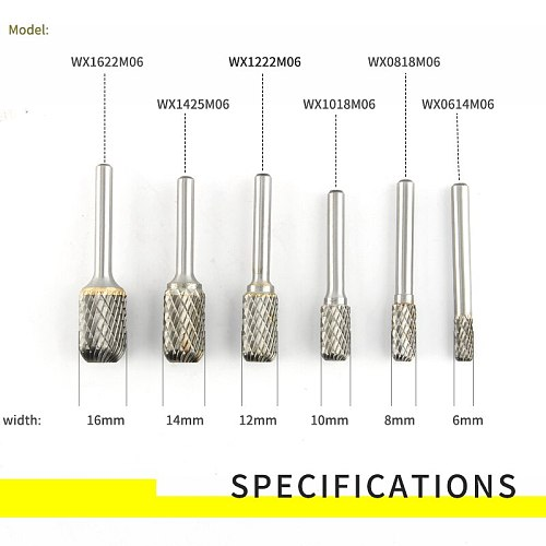 Cylindrical Semi-circular 1pcs Tungsten Steel Alloy Rotary Boring Head Grinding Head Milling Cutter W-shaped Wood Carving Head