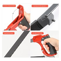 AIRAJ Adjustable Round Tube Hacksaw With Aluminum Frame, Replaceable 7 Saw Blades With Handles for Cutting Wood Metal Saw Tools