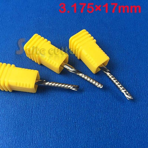 10pcs 3.175x17mm left handed down cutting cutter spiral single flute CNC router bits acrylic pcb Pvc Aluminun